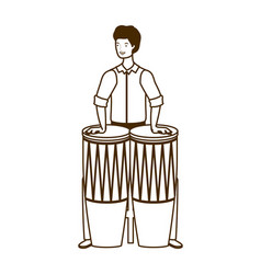 Silhouette man with congas on white background vector
