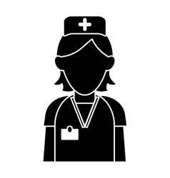 silhouette nurse staff care clinic uniform hat vector image