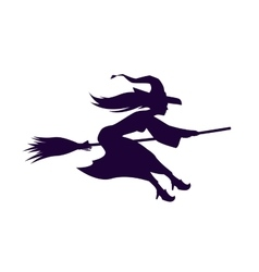 Silhouette witch flying on broom Halloween symbol vector image