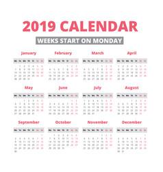 Simple 2019 year calendar vector