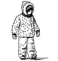 Sketch a kid going on a stroll in cold vector