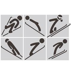 Ski jumping icons vector