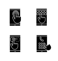 smartphone touchscreen glyph icons set vector image