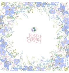 Spring frame with contour blue flowers and herbs vector