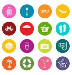 summer rest icons many colors set vector image