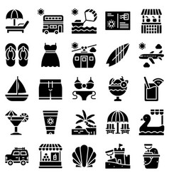 summer vacation related icon set 1 solid style vector image