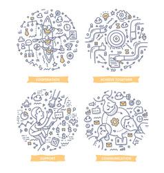 Teamwork doodle vector