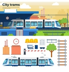 Tram on the street in city vector image