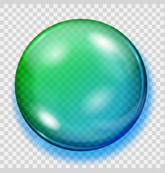 Transparent blue and green sphere with shadow vector