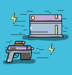 Videogame console with gun and energy symbol vector