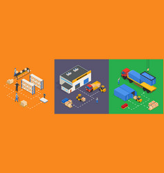 warehouse isometric vector image