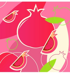 wild fresh pomegranate pattern vector image