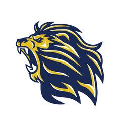 wild lion head mascot roaring logo vector image