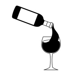 wine bottle pouring glass cup vector image