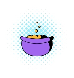 Witch cauldron with potion icon comics style vector image vector image