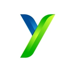 Y letter leaves eco logo volume icon vector image