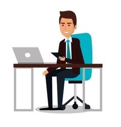 businessman working in computer vector image