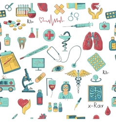 Colored hand draw medicine pattern vector image vector image