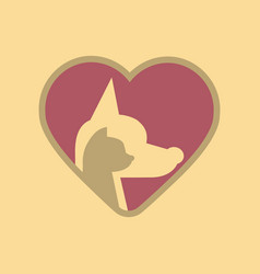 flat icon on background cat dog heart vector image