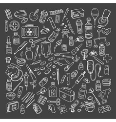Health care and medicine doodle icon set vector image vector image