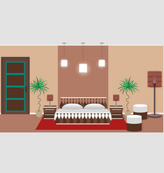 hotel bedroom interior including light equipment vector image vector image