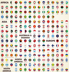 World flags round icons vector image vector image
