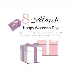 8 march womens day card with gifts sale banner vector