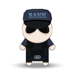 bank security officer cartoon 2d collector vector image vector image