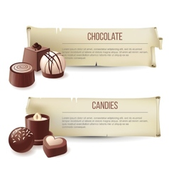 Chocolate candies banners vector image vector image