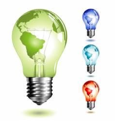 light bulb with worldmap vector image vector image