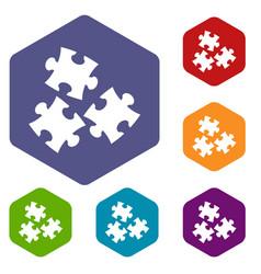 Puzzle icons set hexagon vector