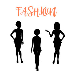 fashion woman silhouette in tight dresses vector image vector image