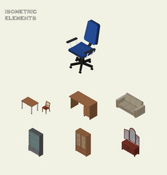 Isometric furnishing set of office couch cabinet vector