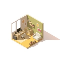 isometric low poly room cutaway icon vector image