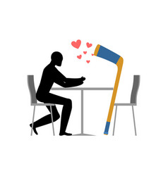 lover hockey hockey stick and guy in cafe lovers vector image vector image