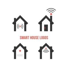 Set of four black smart house logos vector