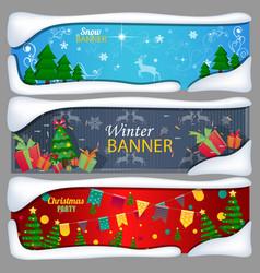 set of horizontal christmas new year banners vector image