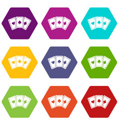 three aces playing cards icon set color hexahedron vector image vector image