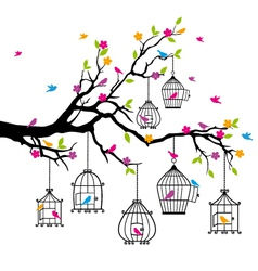 tree with birds and birdcages vector image vector image