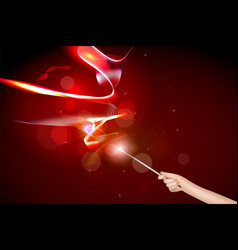 hand with a magic wand vector image vector image