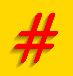 hashtag sign red icon with vector image vector image
