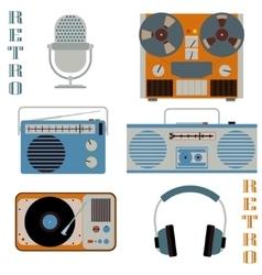 Retro media technology icons vector image