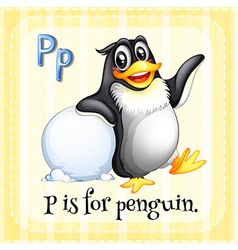 A letter P for penguin vector image