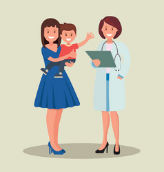 a pediatrician and a mother with a child vector image