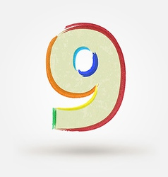 Alphabet letter number nine Watercolor paint vector image