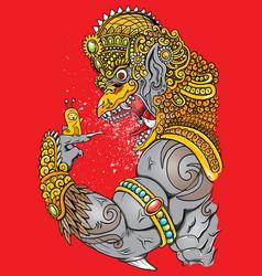 angry garuda and cute snail vector image