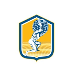 Atlas Carrying Globe on Shoulder Shield Retro vector