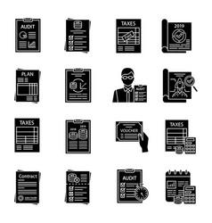 Audit glyph icons set vector