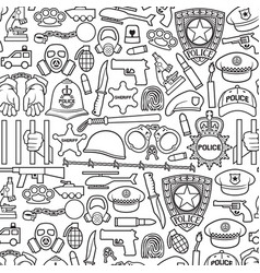 background pattern with police icons vector image