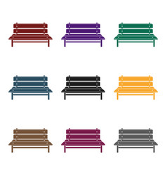 bench icon in black style isolated on white vector image